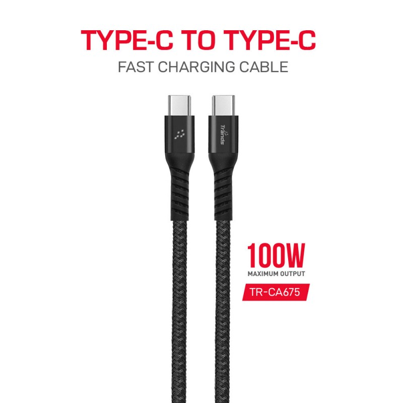 100W Nylon Braided Type-C Cable