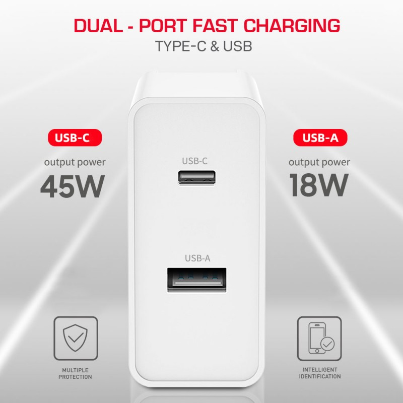 GaN Fast Travel Charger with Dual Ports (Type-C and USB)