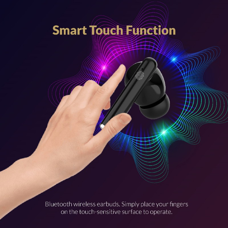 Bluetooth Wireless Earbuds with Portable Charging Case (Type-C Charging Port)