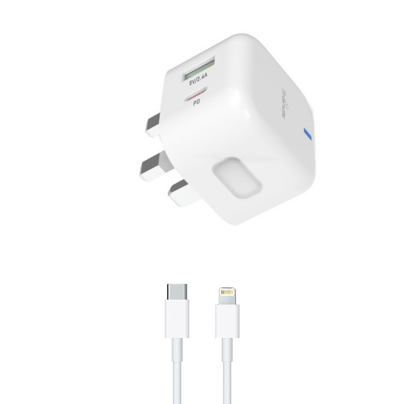 30W PD Travel Charger with Dual Port (Type-C and USB)