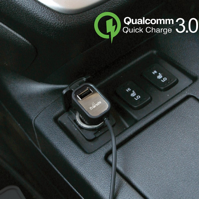 Qualcomm Quick Charge 3.0 Car Charger with Single USB Port and Built-in Type-C Cable
