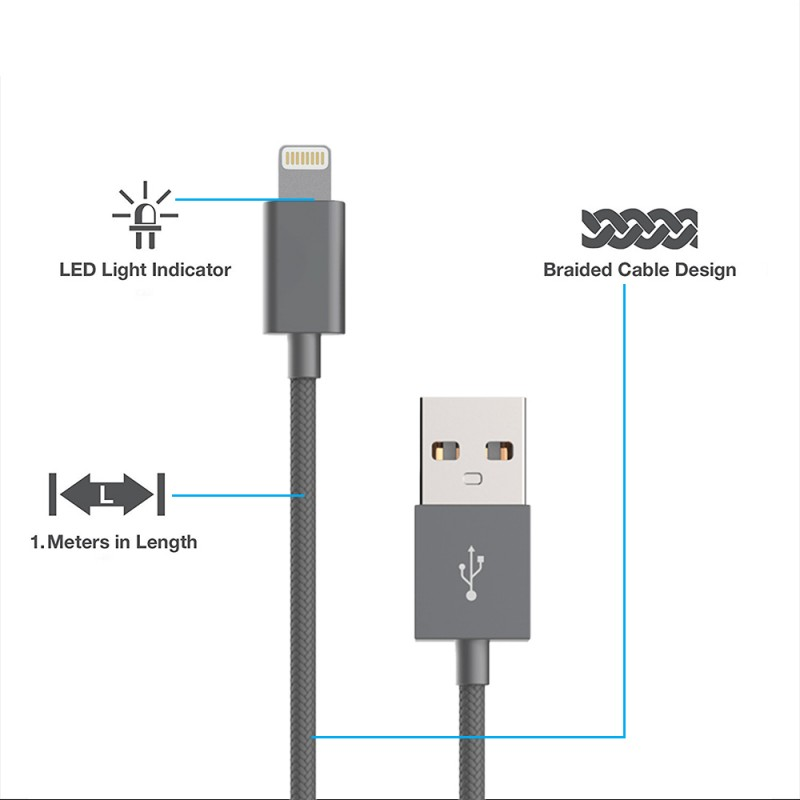 LED Torch Lightning Nylon Braided Cable