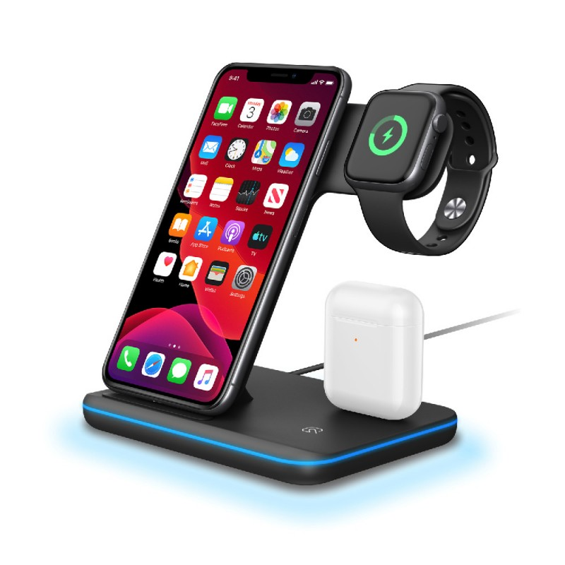 3 in 1 Wireless Charger for Smartphone, iWatch and Air Pods