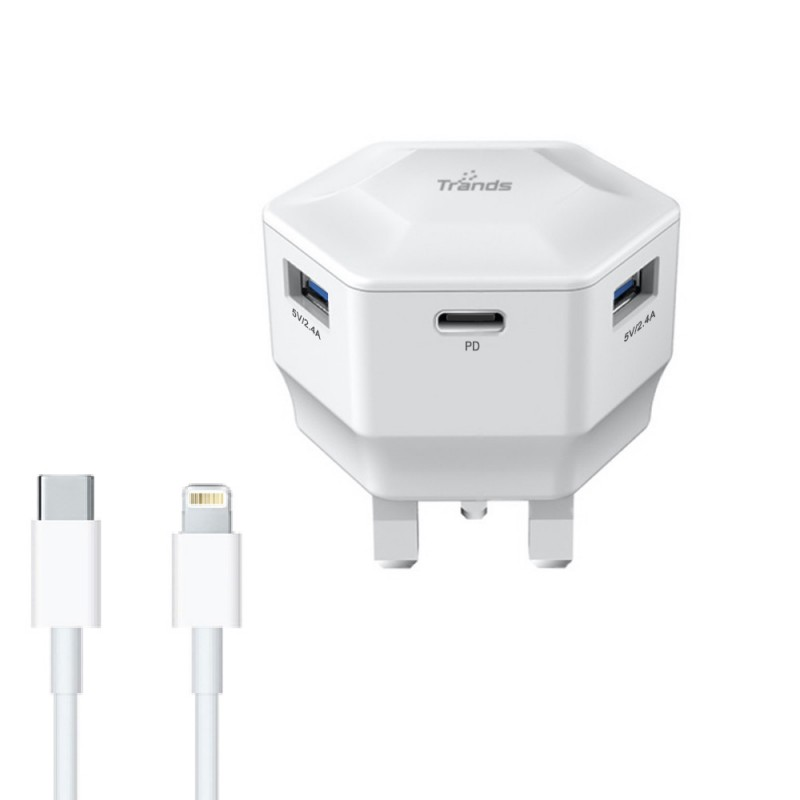 30W PD Travel Charger with Type-C and Dual USB Ports