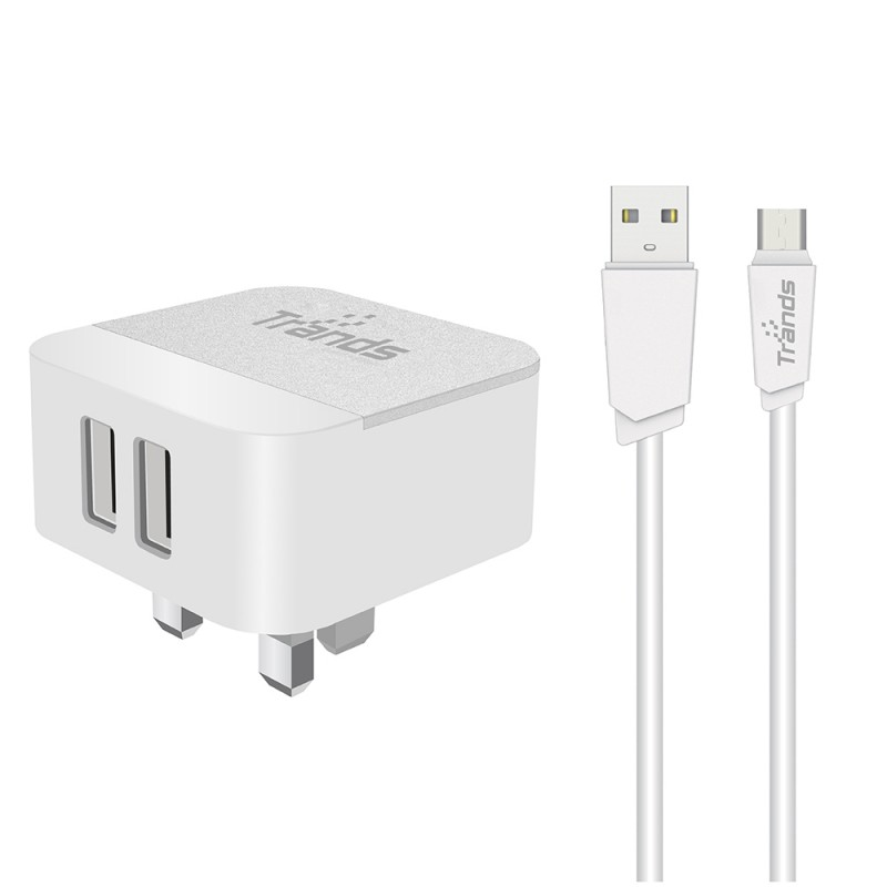 12W Dual USB Travel Adapter with Micro USB Cable